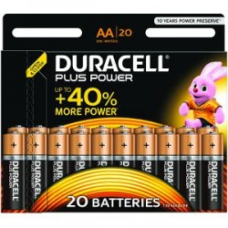 Piles Duracell Plus Power AA pack de 20