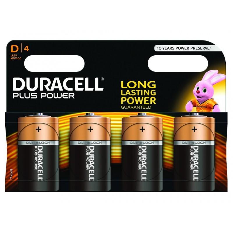 Piles Duracell Plus Power D pack de 4 MN1300B4